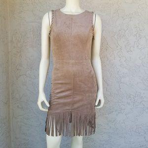 Dress Forum Fringed Camel Suede Sleeveless Dress